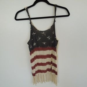 EUC Others Follow Cream Tank Top American Flag